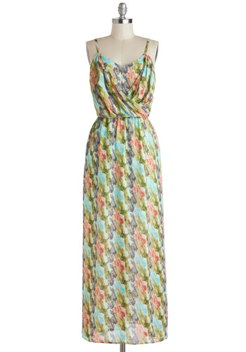 If You Museum Dress - Green, Blue, Pink, Grey, Print, Casual, Maxi, Spaghetti Straps, Sweetheart, Summer, Chiffon, Sheer, Woven, Long, Multi