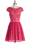 Surprise to the Occasion Dress - Pink, Tan / Cream, Lace, Belted, Party, A-line, Cap Sleeves, Boat, Glitter, Valentine's