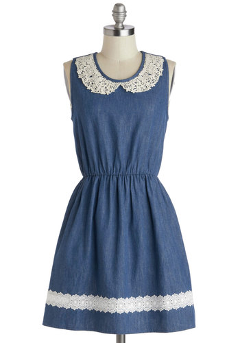 Farmhouse Potluck Dress - Blue, White, Crochet, Peter Pan Collar, Casual, A-line, Sleeveless, Scoop, Mid-length, Cotton, Woven