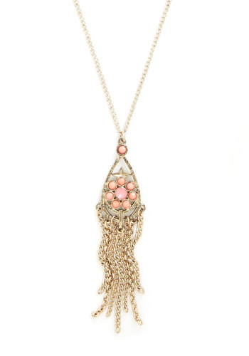 Raining Resplendence Necklace - Solid, Chain, Fringed, Gold, Pink, Vintage Inspired, Gold