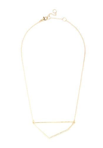 Eye-catching Quadrilateral Necklace - Gold, Solid, Minimal, Rhinestones