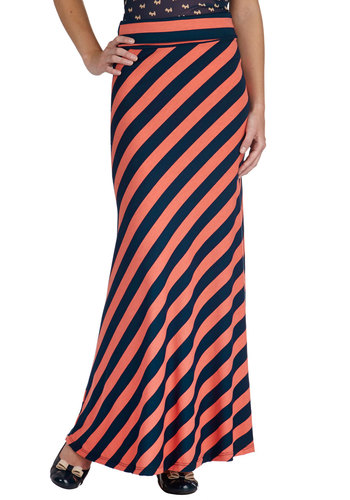 Santa Monica Summer Skirt - Jersey, Long, Coral, Blue, Stripes, Casual, Maxi, Summer