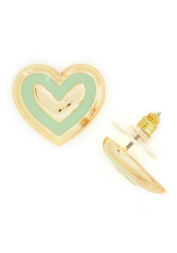 Happy Heart to Heart Earrings - Mint, Gold, Solid, Trim, Novelty Print, Gold, Valentine's