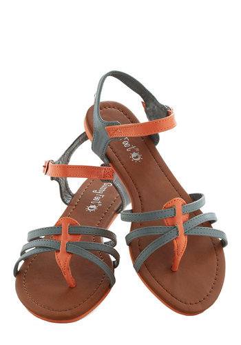 Granite Girl Sandal - Grey, Orange, Beach/Resort, Colorblocking, Summer, Flat, Solid, Casual, Faux Leather