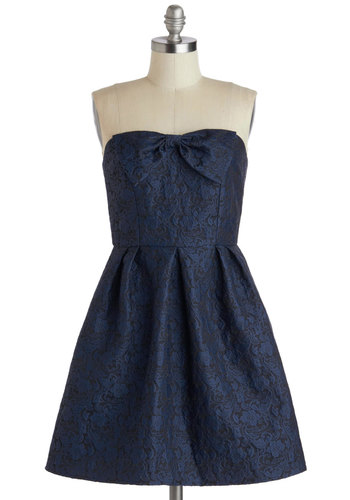 Every Bit Elegant Dress - Blue, Black, Bows, Prom, Fit & Flare, Strapless, Sweetheart, Pleats, Woven, Mid-length, Floral, Special Occasion, Wedding, Bridesmaid