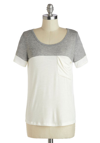 New to the Colorblock Top in Grey - Mid-length, White, Grey, Solid, Pockets, Casual, Short Sleeves, Travel, Colorblocking, Scoop, White, Short Sleeve