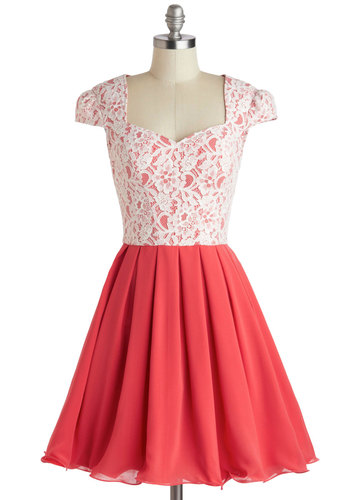Loganberry Beautiful Dress in Pink - Pink, White, Cutout, Lace, Prom, Party, Fit & Flare, Cap Sleeves, Sweetheart, Pleats, Mid-length, Valentine's, Homecoming