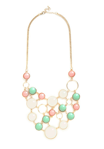 Astronomy Amor Necklace in Pastel - Pink, White, Mint, Gold, Solid, Statement, Pastel, Gold