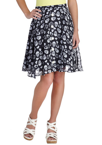 Rad Romance Skirt - Black, Novelty Print, Buttons, Quirky, A-line, Chiffon, Black, Spring, Fall, Winter, Mid-length