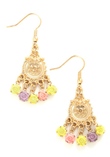 Par for the Corsage Earrings - Gold, Yellow, Purple, Pink, Multi, Flower, Fairytale, Pastel