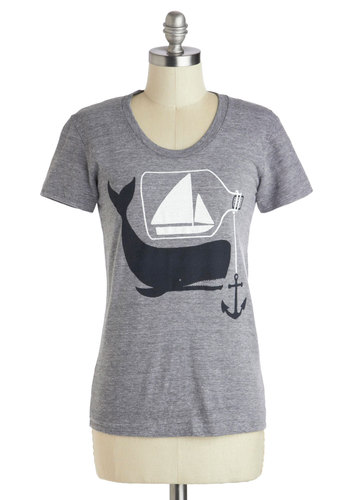 Lesson in a Bottle Tee - Mid-length, Grey, Black, White, Casual, Nautical, Short Sleeves, Top Rated