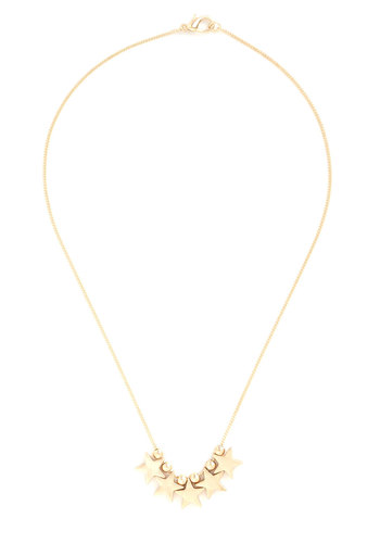 Five Star Performance Necklace - Gold, Solid, Beads, Novelty Print, Gold