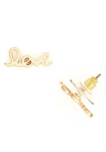 Words to Love By Earrings - Gold, Solid, Novelty Print, Gold