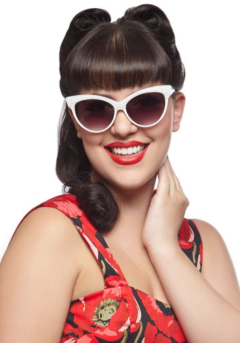 Glint on the Horizon Sunglasses - White, Solid, Rhinestones, Beach/Resort, Pinup, Vintage Inspired, 40s, 50s, 60s, Summer