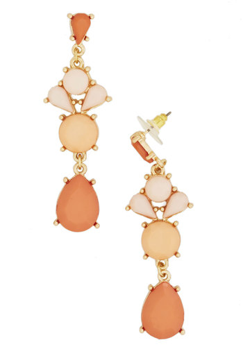 Coral It a Day Earrings - Coral, Gold, Solid, Pastel
