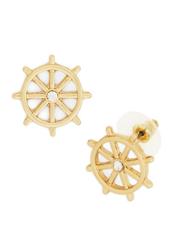 Steer the Show Earrings - Gold, Solid, Nautical, Rhinestones