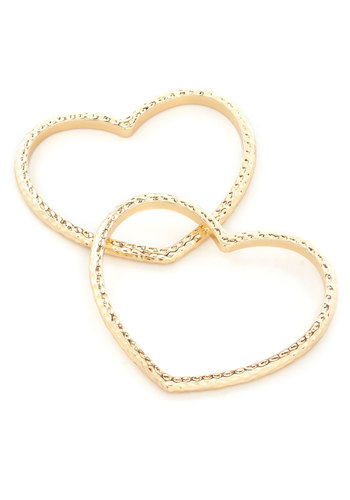 Two Hearts Sweet As One Bracelets - Gold, Solid, Novelty Print, Gold