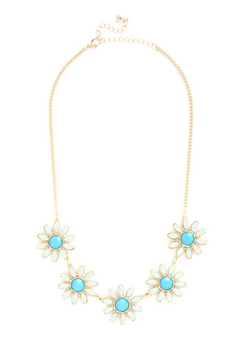 Retro Brunch Necklace - Blue, Gold, Solid, Flower, Vintage Inspired, 60s, Mod, Mint, Gold