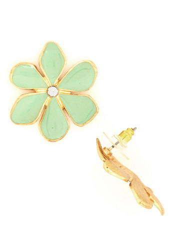 Centerpiece of Attention Earrings - Mint, Gold, Solid, Flower, Pastel, Rhinestones, Spring, Floral, Gold
