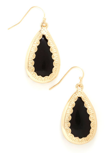 RSVPerfect Earrings in Black - Black, Gold, Solid, Trim, Luxe, Variation, Party, Special Occasion, Gold