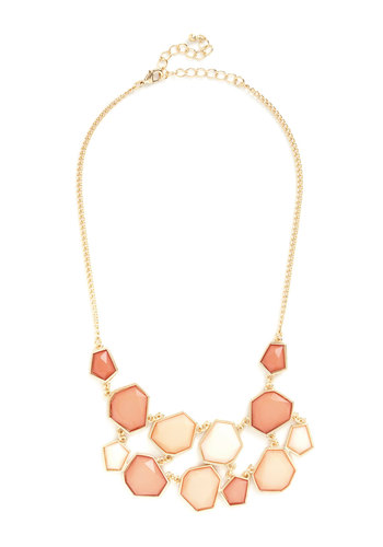 Coral Day and Night Necklace - Coral, Gold, Solid, Statement