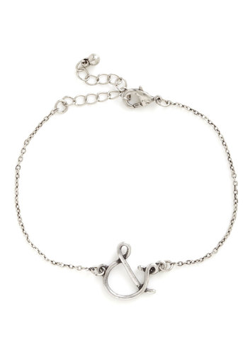 And in And Bracelet - Silver, Solid, Quirky, Novelty Print, Silver, Top Rated