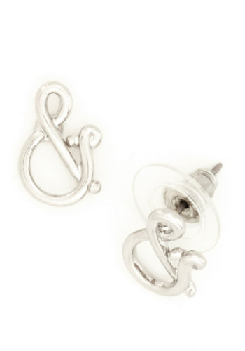 And in And Earrings - Silver, Solid, Quirky, Novelty Print, Silver