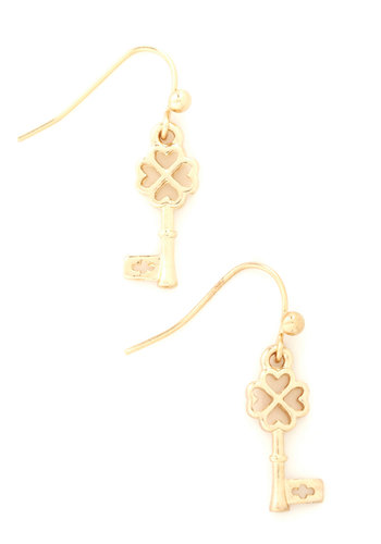 Shamrock and Key Earrings - Gold, Solid, Novelty Print, Gold