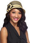 Keep Your Friends Cloche Hat in Sand - Tan, Stripes, Flower, Black, Daytime Party, Beach/Resort, Summer, Variation
