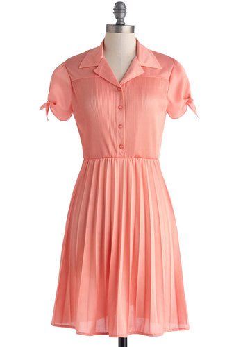 Give a Little Glisten Dress by Myrtlewood - Coral, Solid, Buttons, Casual, A-line, Short Sleeves, Collared, Pleats, Work, Exclusives, Mid-length, Satin, Knit, Private Label