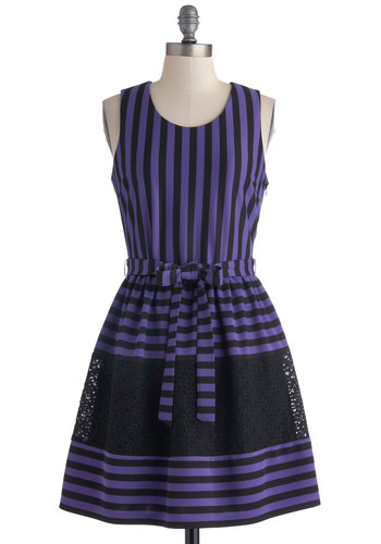Strike A Coordinate Dress - Purple, Black, Stripes, Lace, Belted, Party, A-line, Tank top (2 thick straps), Scoop, Mid-length, Knit, Purple