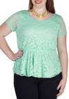 Instant Charmer Top in Mint - Plus Size - Mint, Solid, Cutout, Lace, Party, Daytime Party, Pastel, Peplum, Short Sleeves, Spring, Summer, Sheer, Variation, Scoop