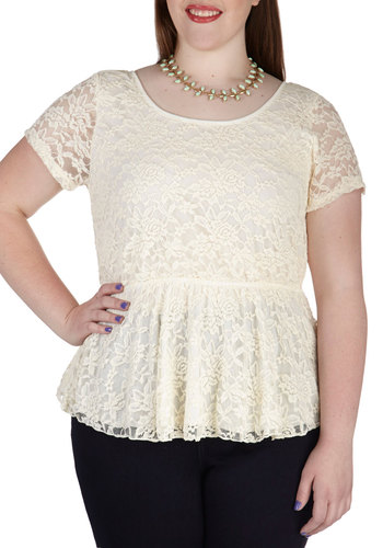 Instant Charmer Top in Ivory - Plus Size - Cream, Solid, Cutout, Lace, Party, Daytime Party, Peplum, Short Sleeves, Spring, Summer, Sheer, Variation, Scoop, Girls Night Out