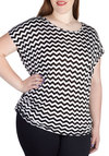 Fly Frequency Top in Black - Plus Size - Black, White, Chevron, Ruching, Casual, Short Sleeves, Scoop