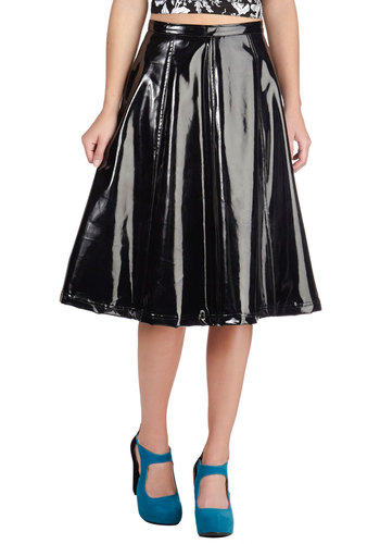 Better Because of Pleather Skirt - Mid-length, Black, Party, Girls Night Out, Vintage Inspired, 80s, Steampunk, A-line, Fit & Flare, Urban, Faux Leather