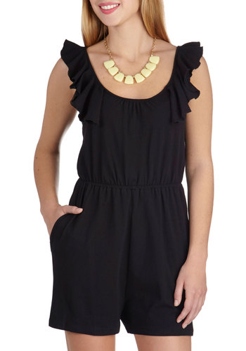 In a Novella Romper - Long, Cotton, Black, Solid, Ruffles, Casual, Pockets, Beach/Resort, Summer, Scoop