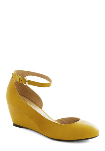 Stylish Steps Wedge in Sunflower - Yellow, Solid, Work, Wedge, Mary Jane, Mid, Leather, Minimal, Variation