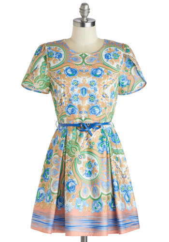 Flowers and Hours Dress - Multi, Floral, A-line, Short Sleeves, Cotton, Mid-length, Belted, Scoop, Print, Party, Daytime Party, Spring, Summer