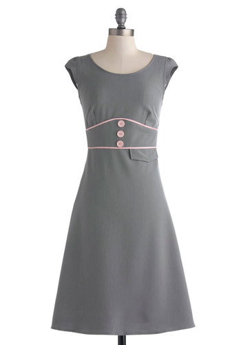 Work It Haute Dress - Long, Grey, Pink, Buttons, Trim, Work, Cap Sleeves, Scoop, Solid, A-line, Exclusives