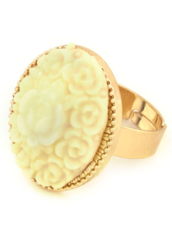 Horticultural Studies Ring - Gold, Solid, Flower, Fairytale, Pastel, Cream, Floral, Gold