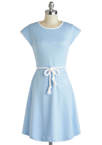 Tie the Nautical Dress - Mid-length, Blue, White, Embroidery, Belted, Casual, Nautical, A-line, Cap Sleeves, Crew, Solid, Pockets, Pastel, Spring, Summer