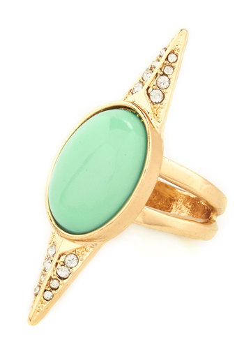 Dream Compass True Knuckle Ring - Mint, Gold, Solid, Rhinestones, Statement, Pastel, Gold