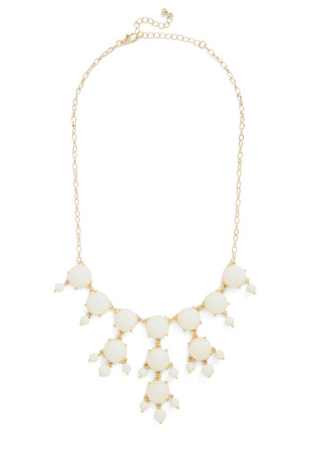 Improvise and Shine Necklace - White, Gold, Solid, Tiered, Beads, Statement, Gold