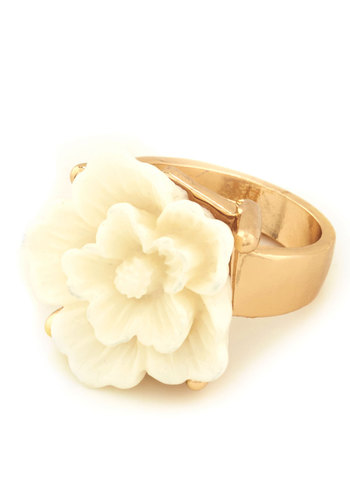 Cocktail Flower Ring - Gold, Flower, Cream, Solid, Fairytale, Spring, Floral, Gold