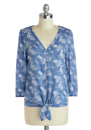 Arts and Rafts Top - Mid-length, Blue, White, Print, Buttons, Long Sleeve, Casual, Blue, 3/4 Sleeve