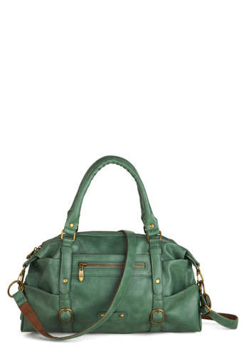 Afternoon Exploring Bag in Fern - Green, Gold, Solid, Buckles, Faux Leather, Variation