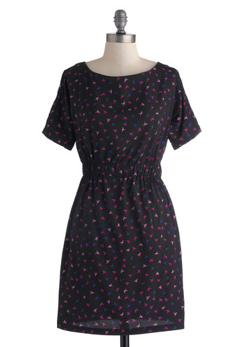 Blackbirds Singing Dress - Black, Blue, Purple, Pink, Print with Animals, A-line, Short Sleeves, Scoop, Pockets, Work, Casual, Short