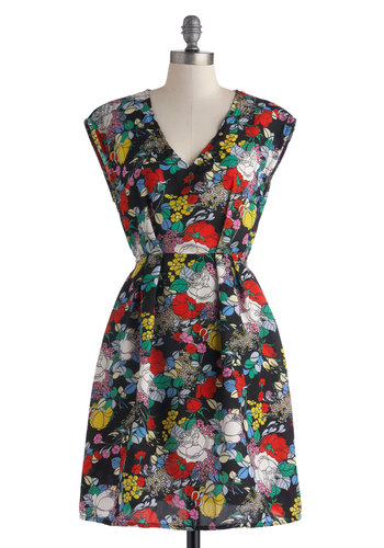 Prismatic About You Dress - Mid-length, Black, Multi, Floral, Party, Shift, Short Sleeves, V Neck, Pleats
