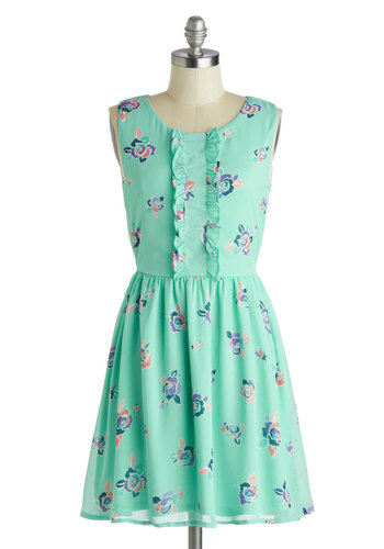 Spontaneous Spritzer Dress - Mint, Multi, Floral, Ruffles, Casual, A-line, Sleeveless, Scoop, Daytime Party, Mid-length