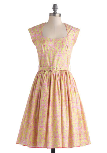 Eiffel Power Dress by Bernie Dexter - Long, Cotton, Yellow, Pink, White, Novelty Print, Pockets, Belted, Daytime Party, Fit & Flare, Cap Sleeves, Vintage Inspired, 40s, 50s, Spring, Summer